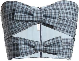 Rodarte Checked bow-trim wool bustier top