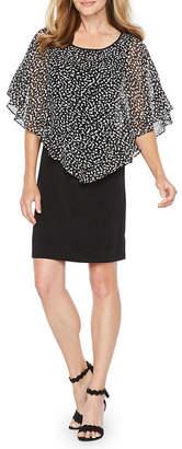 Alyx Short Sleeve Diamond Cape Sheath Dress