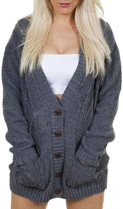 508e1a3998ab at Amazon Canada · Boosouly Cable Knit Chunky Ladies Grandad Boyfriend  Pocket Button up Top Cardigan For Teen Girl