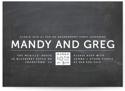 Laid Back Black and White Engagement Party Invitations