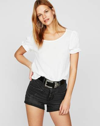 Express Super High Waisted Yoke Front Denim Shorts