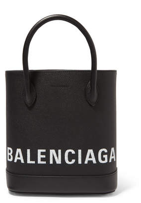 Balenciaga Ville Xxs Aj Printed Textured-leather Tote - Black