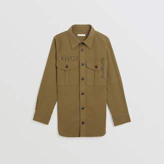 Burberry Stencil Print Cotton Wool Army Shirt , Size: 10Y, Green
