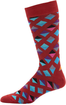 Jared Lang Men's Diamond-Print Cotton-Blend Socks