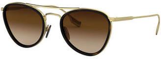 6b28caec05 Burberry Mirrored Glittered Metal Aviator Sunglasses