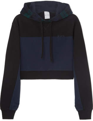 Kith - Katie Cropped Checked Paneled Cotton-jersey And Wool-blend Hoodie - Black