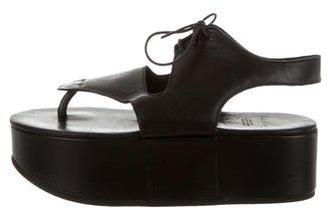 Yohji Yamamoto Lace-Up Wedge Sandals $150 thestylecure.com