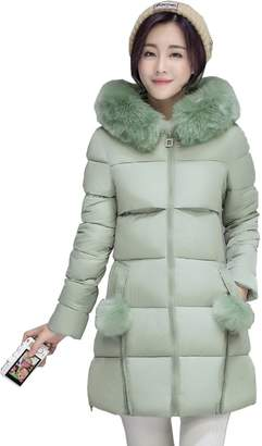 Cresay Women's Slim Down Jacket with Removable Faux Fur Trim Hood-XL