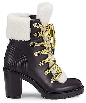 Christian Louboutin Women's Yetita Shearling-Lined Leather Hiking Boots