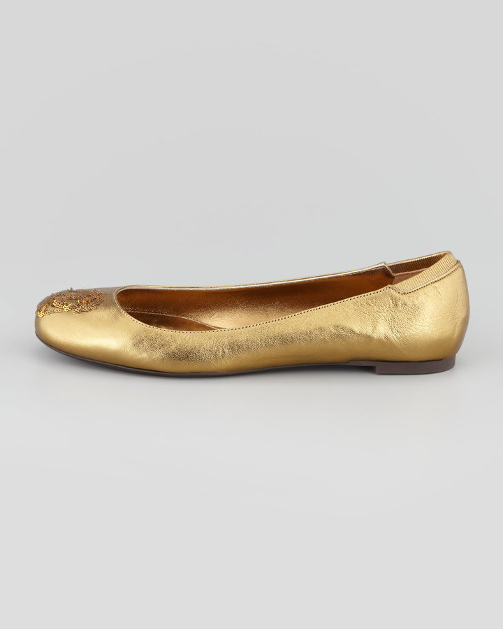 Alexander McQueen Skull Sequined Metallic Ballerina Flat, Gold