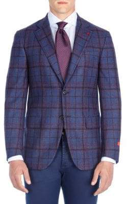 Isaia Windowpane Wool Jacket
