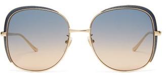 Gucci Oversized Square Frame Metal Sunglasses - Womens - Gold Multi