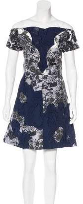 Michael Van Der Ham Jacquard Off-The-Shoulder Dress