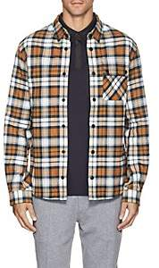 Aztech Mountain Men's Plaid Cotton Flannel Ski Shirt - Orange