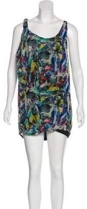 Acne Studios Silk Printed Sleeveless Mini Dress