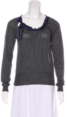 Prada Silk-Trimmed Wool Sweater
