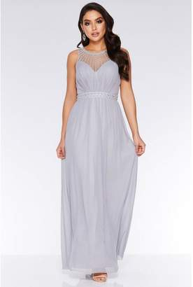 Quiz Grey Chiffon High Neck Maxi Dress
