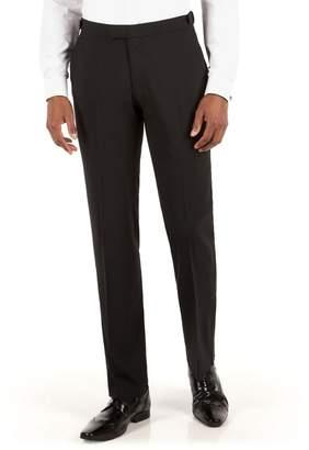 Green & Black Racing Green - Black Plain Weave Tailored Fit Dress Wear Trousers