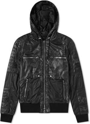 Balmain Hooded Camo Zip Biker Jacket