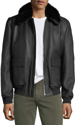 Stefano Ricci Men's Fur-Collar Leather Jacket