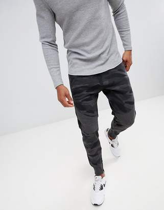 Pull&Bear Cuffed Jogger In Grey Camo With Zips