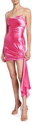 Cinq à Sept Ryder Crushed-Satin Draped Side Dress