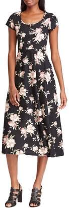 Chaps Petite Floral-Print Cotton Jersey Fit--Flare Dress