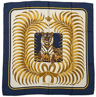 One Kings Lane Vintage Hermes Navy Silk Tiger Scarf - Vintage Lux