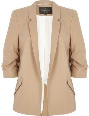 River IslandRiver Island Womens Dark beige ruched sleeve blazer