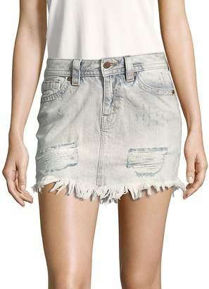 Miss Me Women's Fringed-Hem Denim Skirt
