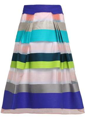 Milly Paneled Pleated Organza And Twill Skirt