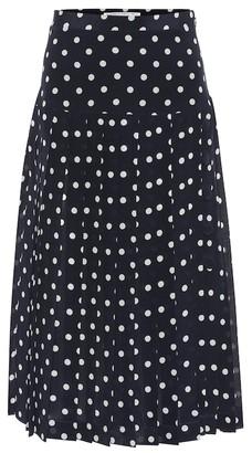 Alessandra Rich Polka-dot pleated silk midi skirt