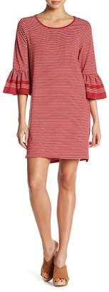 Max Studio 3/4 Sleeve Ruffle Cuff Striped Dress