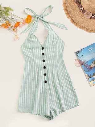 Shein Knot Halter Single Breasted Striped Romper