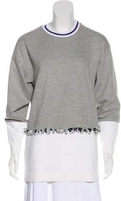 Mother of Pearl Embellished Long Sleeve Sweater