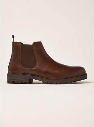 Topman Mens Brown Tan Leather Empire Chelsea Boots
