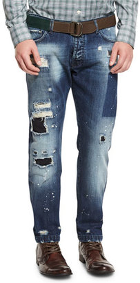 Kiton Distressed Straight-Leg Jeans, Blue $1,495 thestylecure.com