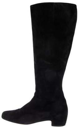 Christian Louboutin Suede Knee-High Boots Black Suede Knee-High Boots