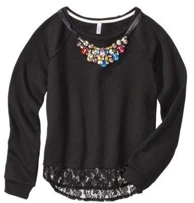 Xhilaration Junior's Lace Trim Sweatshirt with Necklace - Assorted Colors