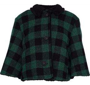 RED Valentino Faux Shearling-Trimmed Checked Wool-Twill Jacket