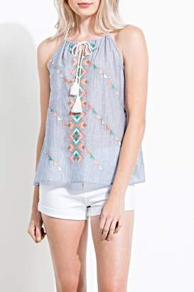 THML Clothing Sleeveless Embroidered Top
