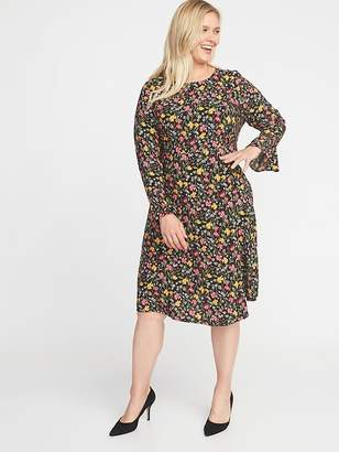 Old Navy Fit & Flare Flute-Sleeve Plus-Size Dress