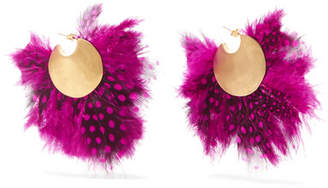 Katerina Makriyianni - Fringed Gold-plated Feather Earrings - Pink
