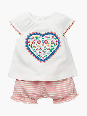 Boden Mini Baby Heart Embroidered Play Set, White