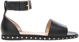 Valentino Leather Soul Rockstud Flat Sandals $836 thestylecure.com