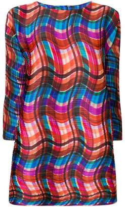 Pleats Please Issey Miyake wavy checked pleated tunic