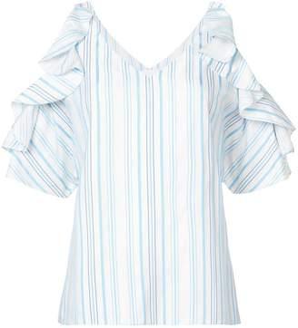 Christian Siriano striped ruffle sleeved shirt