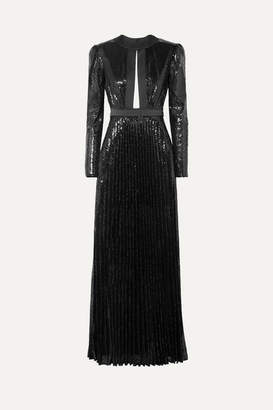 Philosophy di Lorenzo Serafini Satin-trimmed Sequined Tulle Gown - Black