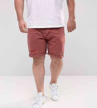 Asos DESIGN Plus Slim Denim Shorts In Burgundy With Thigh Rip