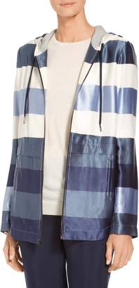 St. John Viscose Block Stripe Twill Jacket